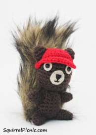 Crochet a baseball cap for your squirrel friend!