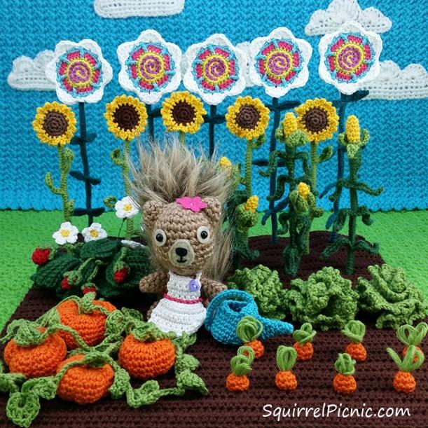 Podge in her garden