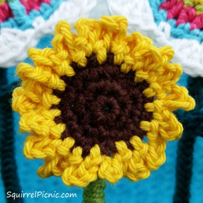 Here's a closer view of a sunflower.