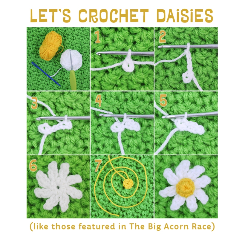 Pattern for Crochet Daisy from The Big Acorn Race