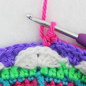 crochet into the next stitch to get lined up